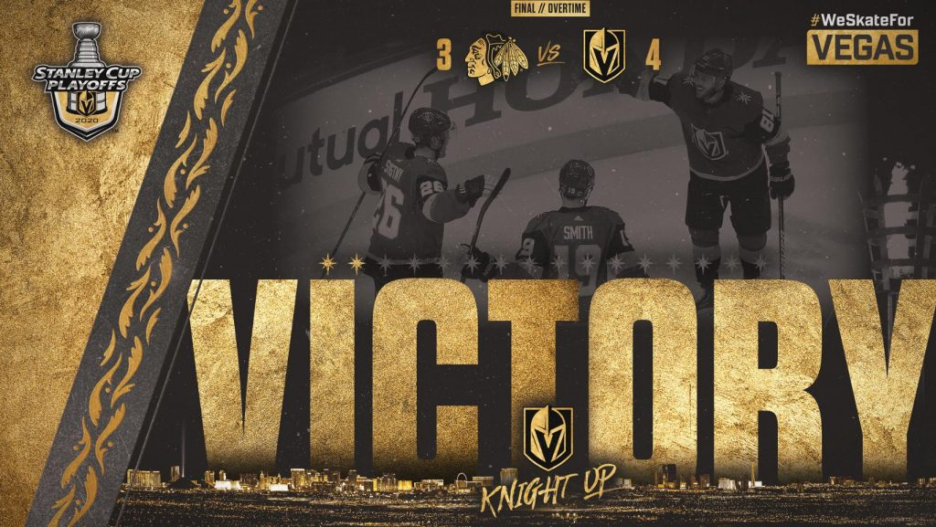 The Vegas Golden Knights took a 2-0 series lead against the Chicago Blackhawks with a 4-3 overtime victory on Thursday evening at Rogers Place in Edmonton.
